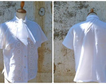 Vintage 1950/50s white eyelet mid century secretary  blouse size S