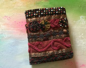 COMPOSITION Notebook Book Cover - quilted fabric collage - Victorian Gypsy Velvet yo yo's Journal