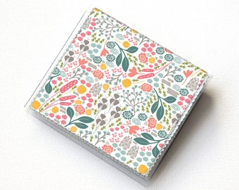 Vinyl Moo Square Card Holder - Flora Fields / case, vinyl, snap, wallet, mini card case, moo case, square, floral, flowers, small, vegan