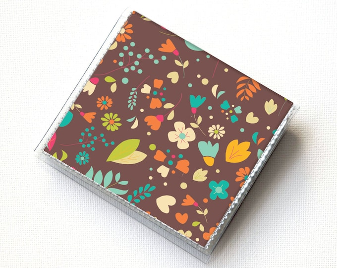 Vinyl Moo Square Card Holder - Emily / vinyl, snap, mini card case, moo case, small, square, valentine, love, gift, hearts, floral, handmade