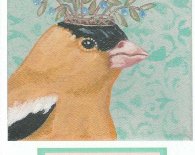Crowned Goldfinch birthday card