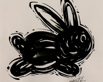 Bunny Painting, Black Illustration  art, Rabbit Watercolor Painting on Vintage Decorative Paper Minimalist Abstract art Kathy Morton Stanion