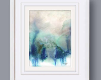 """Abstract Watercolor Painting, soft, Serene, Peaceful, Tranquil, Original art """"Ethereal Travels 8"""" Kathy Morton Stanion EBSQ"""