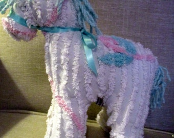 Horse/Pony stuffed animal made from Vintage Chenille bedspread