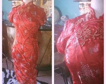 Vintage 1940s style Dress red floral Cheongsam S M wiggle pinup Rockabilly 40s 1930s 30s
