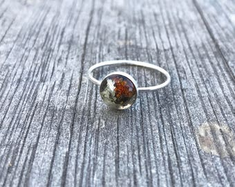 Lichen and resin Sterling silver stacker ring size 8