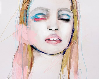 Flare - Fashion Illustration Art Print, Portrait, Mixed Media Painting
