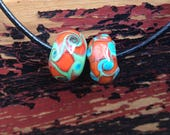 Reserved for Julie Pair of Green Orange and Turquoise Blue Handmade Glass Beads Artisan Handmade For Jewelry Design
