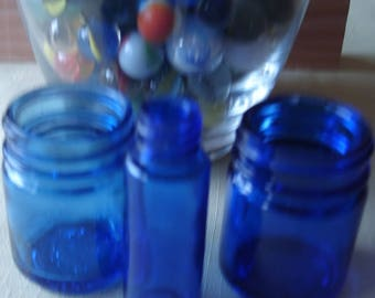 Collectibles Glass Three Vintage Cobalt Blue Vicks Vapo RubGlass Containers