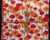Red Orange Floral Reversible Cloth Lunch Napkin Set