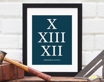 Roman Numerals Gift, Personalized Gift for Bridal Shower, Personalized Wedding Gift, & Anniversary Art Print, Special Date - 8x10 Art Print