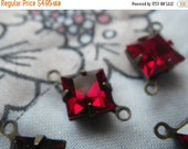 ON SALE 18% Off Ruby Red Vintage Swarovski Square 8x8mm Glass Brass Ox Connectors Two Loops 6 Pcs