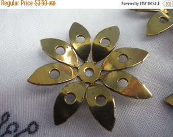 ON SALE 18% off Mod Daisy Pierced Dapped Brass Stampings 32mm 4 Pcs