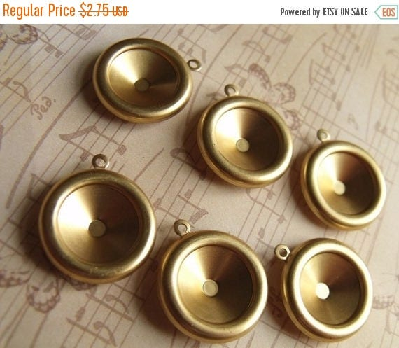 On Sale 25% Off Brass 14mm Rivoli Settings Single Loop 6 Pcs