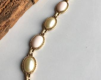 Vintage Link Bracelet, Plastic Cabachon Bracelet, Gold Plated Bracelet, Oval Linked Bracelet, Pink Bracelet, Cream Bracelet, Costume Jewelry