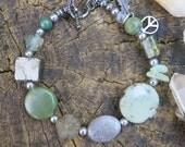 OOAK Crystal Jewelry - Chrysoprase Pyrite Jade Bracelet - Bohemian Gun Metal - Silver Green GreyFunky - Earthy Peace Sign - Festival Style