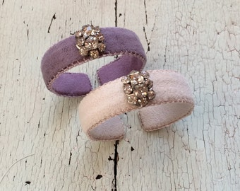 Pastel Ultrasuede cuffs with Rhinestones