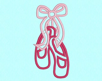 Ballet Slippers applique machine embroidery design file