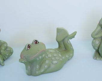Ceramic Frogs - Set of 3 frogs - Cute Frogs - Garden Frogs - Frog Decor - Yard Art - Spring Decor - Frog Figurines - Mothers Day Gift -