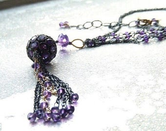 Tassel Boho Purple Amethyst Long Layering Necklace Pave Gem Encrusted Orb of Amethyst Mixed Metal Flapper