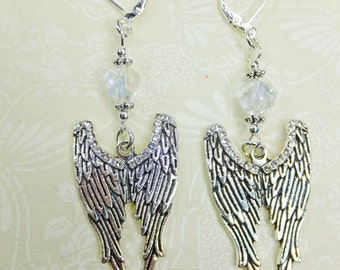 Silvery Pewter and Crystal Steampunk Lightweight Dangle Earrings with Cut Glass Crystal Beads and Wing Pair Charms