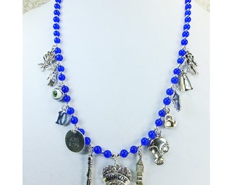 Doctor Who Inspired Necklace With Pewter Rhinestone Heart and Multi Charms Blue Adventurine Beaded Necklace