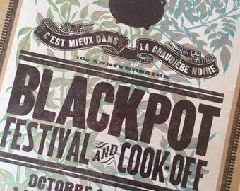 Letterpress Poster BLACK POT FESTIVAL 2015 Lafayette Louisiana Cajun cooking and music French art print vintage jasmine engraving festival