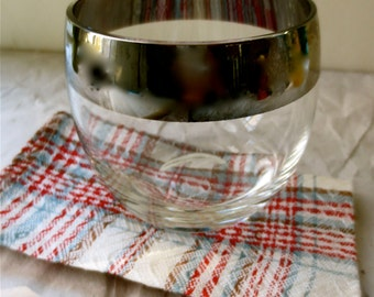 Cocktail Napkins Set of Six - Casual Plaid in Red White and Blue  Vintage 1950's Mid Century Patio Cool Coasters