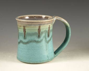 Coffee Mug Cup ,large ceramic handmade mug with large Handle, turquoise,  wheel thown (20oz) -- Perfect Hot & Chocolate