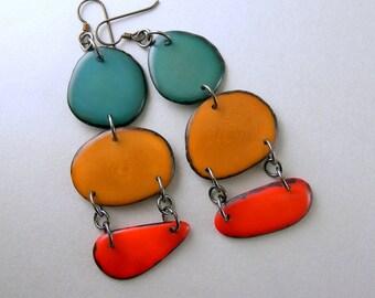 Teal, Coppertone, Orange Shoulder Duster Trio of Tagua Nut Eco Earrings with Free USA Shipping #taguanut #ecofriendlyjewelry