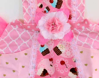 Pink Frosted Cupcake Apron, cupcake toddler apron,  girls apron, accesories, apron, dress up, costume