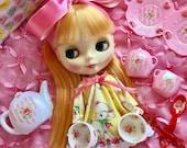 SALE!!..Blythe .. Pink Stripes and Roses Doll Tea Set.. Ooak!!
