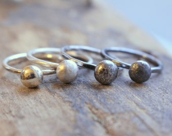 Recycled Sterling Pebble Stacking Rings - Ombre Silver Rings