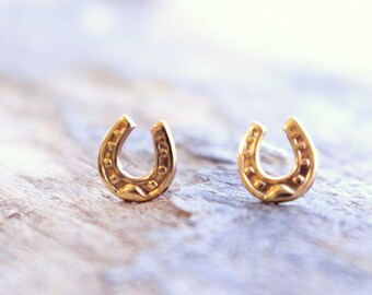 Tiny Golden Horseshoe Earrings - Gold Horseshoe Studs, Tiny Stud Earrings