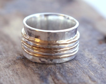 Sterling and Gold Spinner Ring Fiddle Ring Silver and Gold SR120