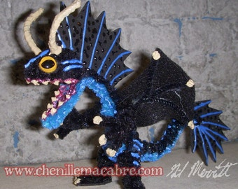 Midnight Blue Dragon- Chenille Stem Miniature