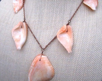 Shell Pink Necklace - freeform pink shell beads on copper necklace - Free Shipping to USA