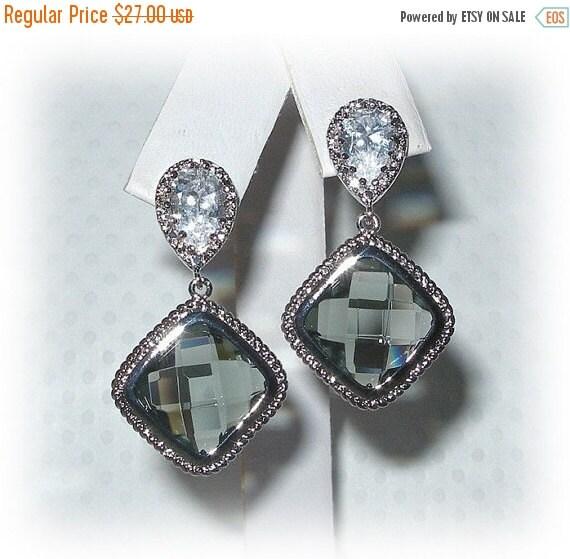ON SALE 15% OFF Black Diamond Bezel Set Earrings