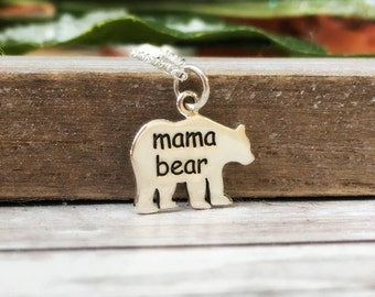 Mama Bear Necklace, gift for her, sterling silver jewelry, mom necklace, for mother, protective, Valentine's day, Mothers day gift, new mom