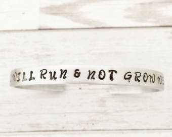 I Will Run & Not Grow Weary bracelet, Inspirational Isaiah 40 31, Bible Verse, running jewelry, gift for her, sterling silver or aluminum