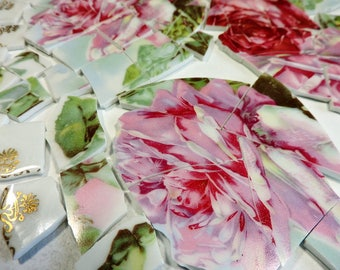 China Mosaic Tiles - OLD PiNK RoSeS - AnTiQuE Plate Mosaic Tiles