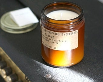 No. 19: PATCHOULI SWEETGRASS - 7.2 oz soy wax candle - green floral / sandalwood / musky - P.F. Candle Co.