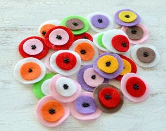 Die cut circles, felt circle appliques, felt flowers, felt appliques, felt patches, round embellishments (25pcs)- GRAB BAG CIRCLES (set 4)