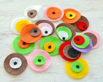 Die cut circles, felt circle appliques, felt flowers, felt appliques, felt patches, round embellishments (16pcs)- GRAB BAG CIRCLES (set 6)