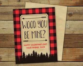Lumberjack valentine cards printable featuring buffalo plaid, wood you be mine valentines are editable pdf files and instant downloads