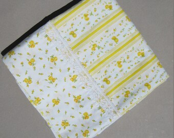 Twin Flat Sheet Yellow Roses & Stripes 1980s Vintage Lace Trimmed Bedsheet