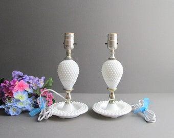 Vintage Milk Glass Hobnail Lamps, Cottage Lamps, Boudoir Lamps, Table Lamps, Nursery Lamps, Bedroom Lamps, Lamp Set