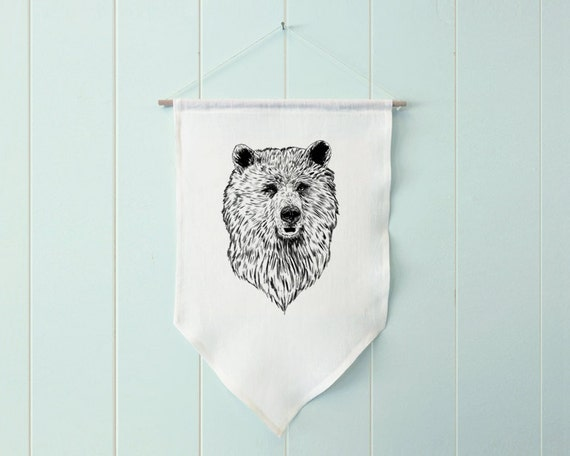 Harry the Bear - wall hanging, banner, fabric banner, farmhouse decor, farmhouse wall decor, woodland nursery, woodland animals, wall art