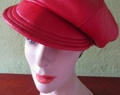 Vintage Kokin Newsboy Cap Hat Red Packable Supple Soft Leather Adjustable Size