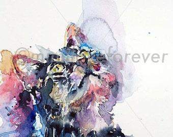 Cat Art Print. Cat Lover Art. Cat Watercolour Print. Tabby Cat Print. Cat Wall Art.